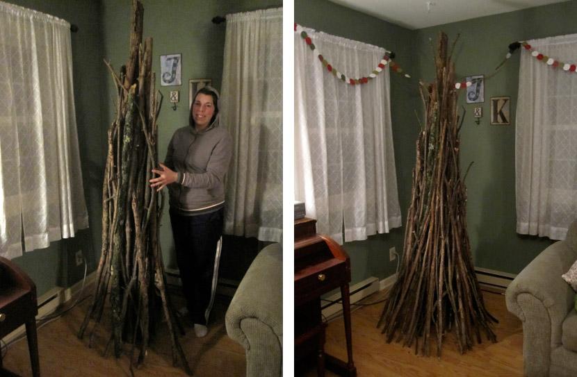 Homemade sheaf Christmas tree