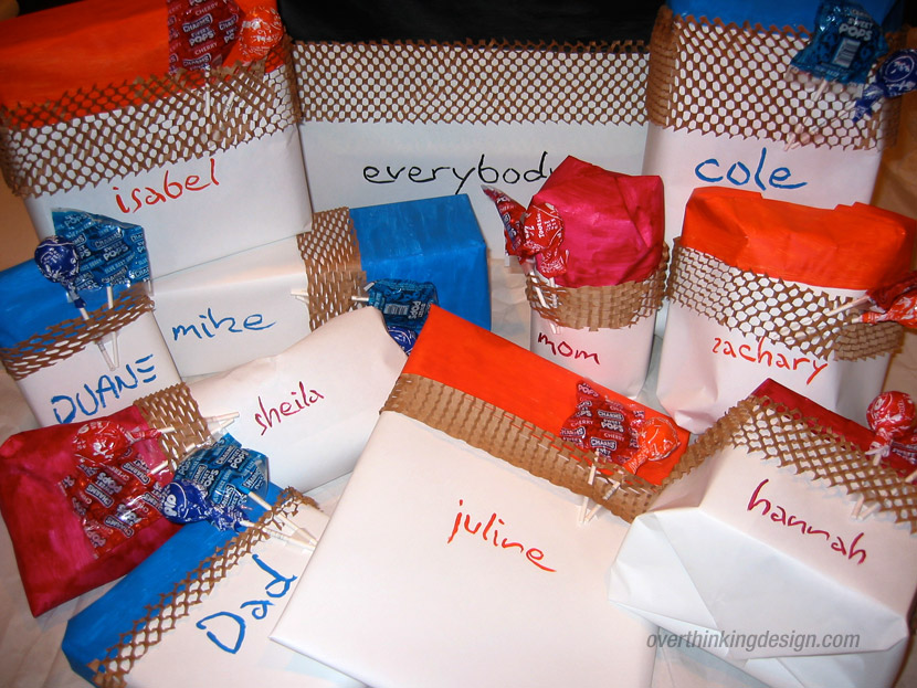 Packaging material themed gift wrapping