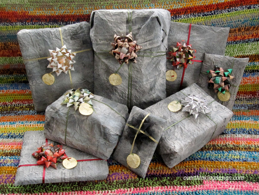 Newspaper and bow gift wrapping