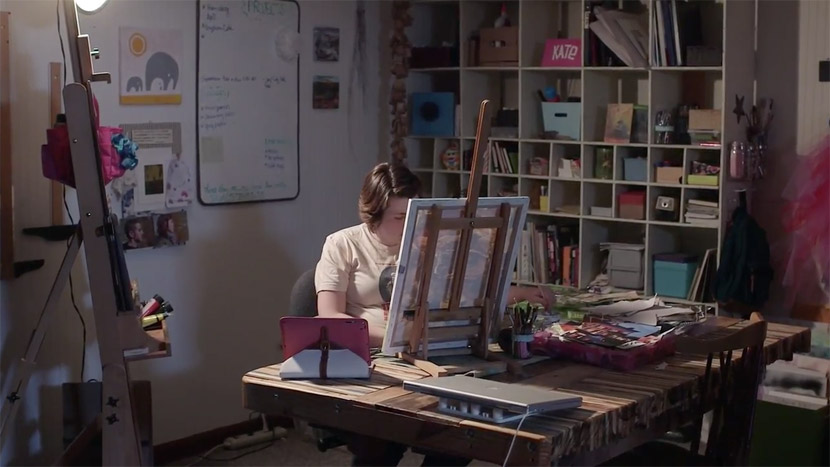 Documentary image showing Katherine Horst's studio space