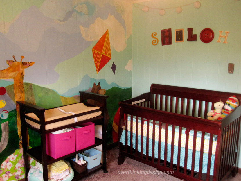 The baby's crib and changing table