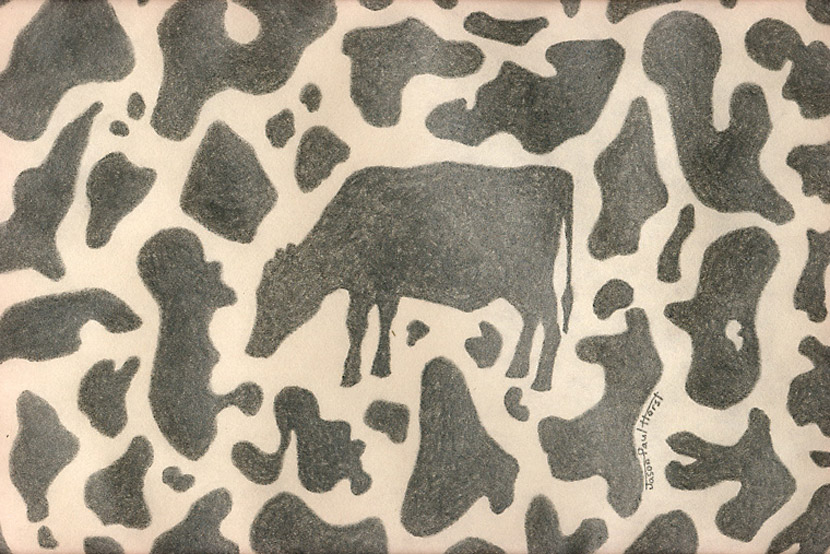 Pencil drawing of a cow in cow spots