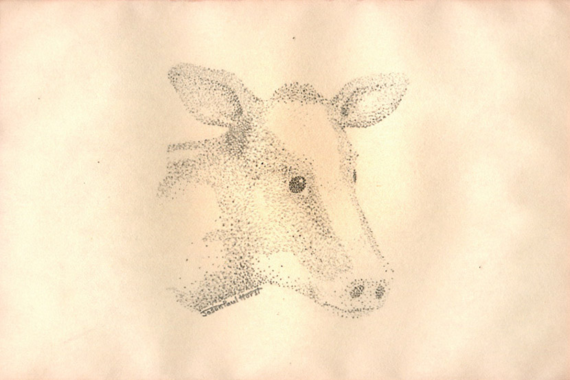 Pencil drawing of a pointillism cow