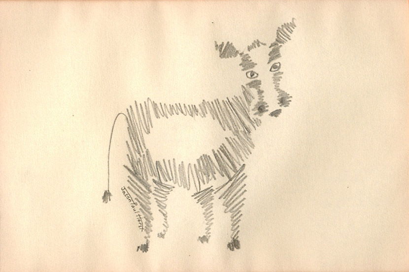 Pencil drawing of a scribble cow