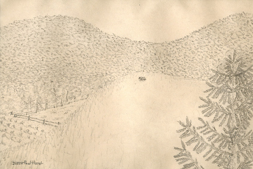 Pencil drawing of a cow that's far away