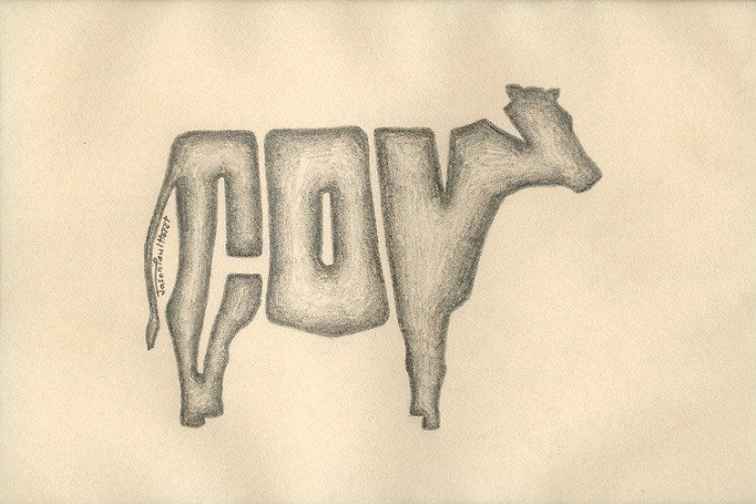 Pencil drawing of a typographic cow