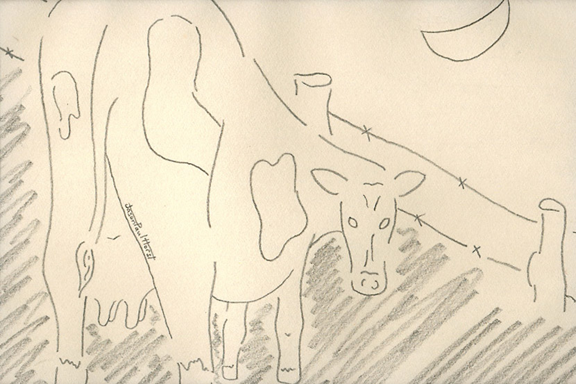 Pencil drawing of an abstract cow