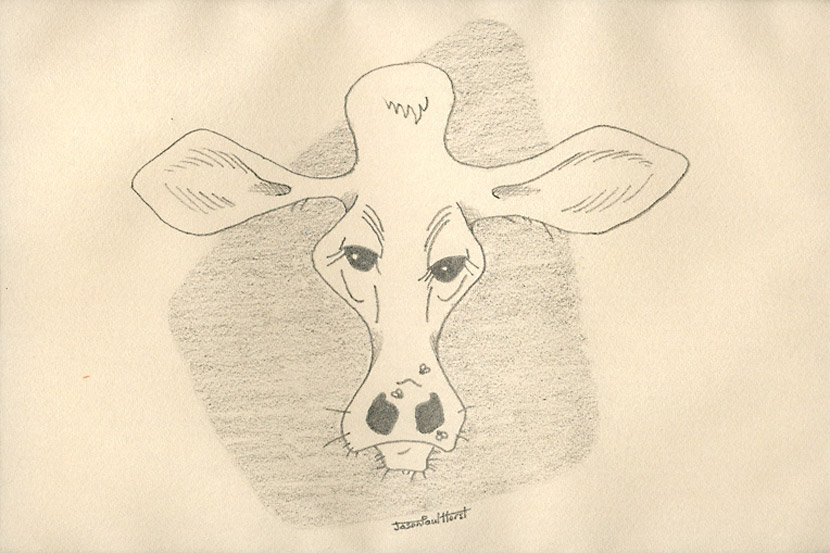 Pencil drawing of a cow caricature