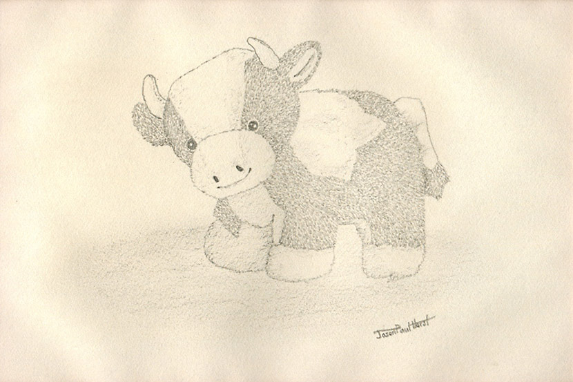 Pencil drawing of a stuffed toy cow