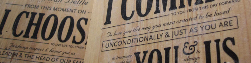 Vows transferred onto wood blocks for wedding vows