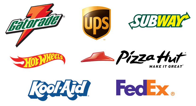 A collage of famous corporate logos