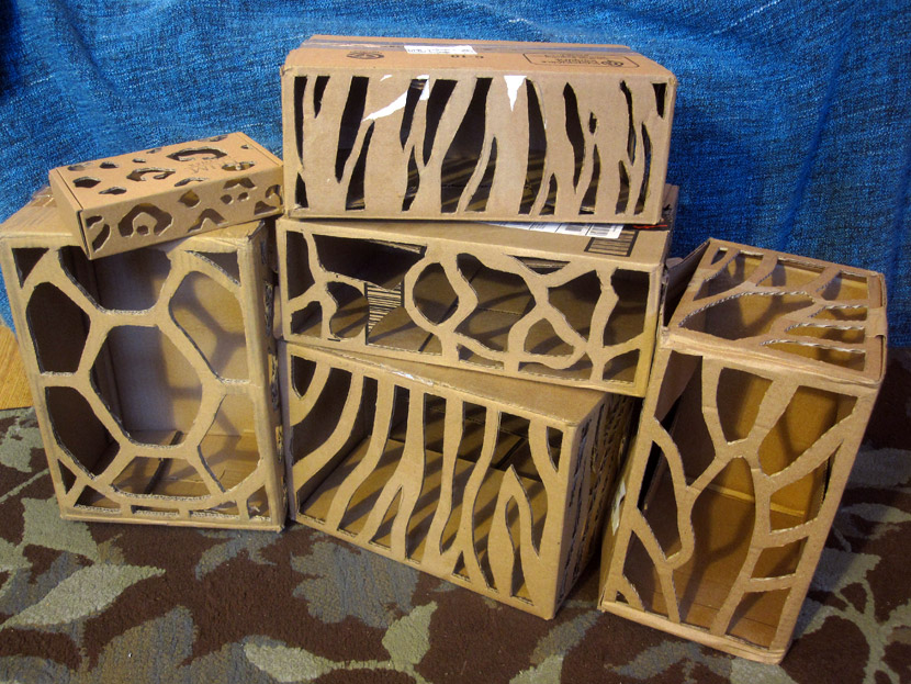 Animal prints cut out of cardboard boxes