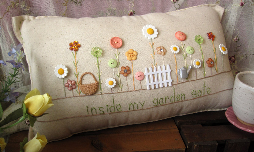 """Inside My Garden Gate"" pillow"