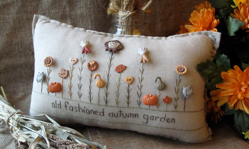 """Old Fashioned Autumn Garden"" pillow"