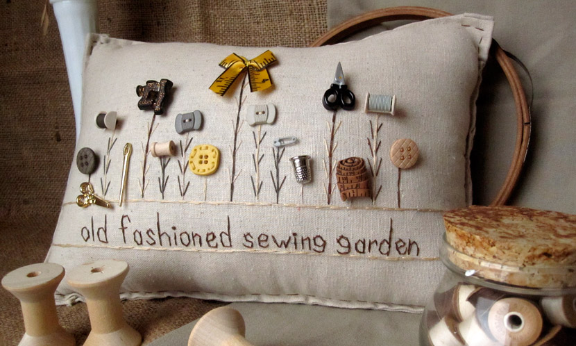 """Old Fashioned Sewing Garden"" pillow"