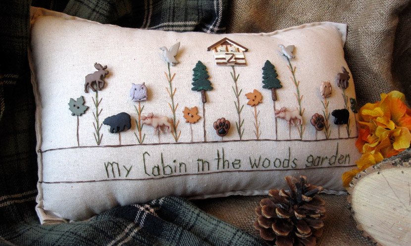 """My Cabin in the Woods Garden"" pillow"