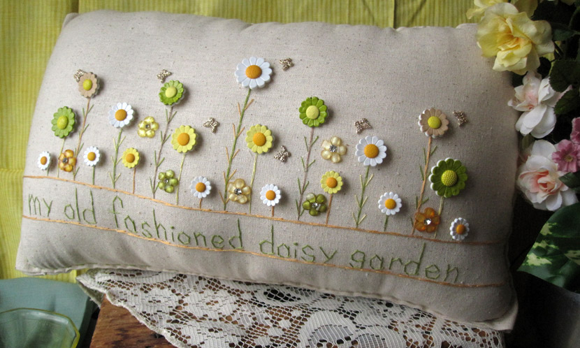 """My Old Fashioned Daisy Garden"" pillow"