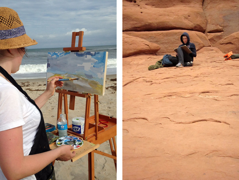 When locally or while on vacation, my wife loves to work en plein air.