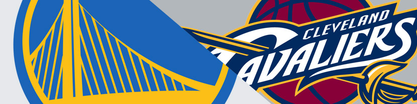 The logos of the 2015 NBA Finals battle it out