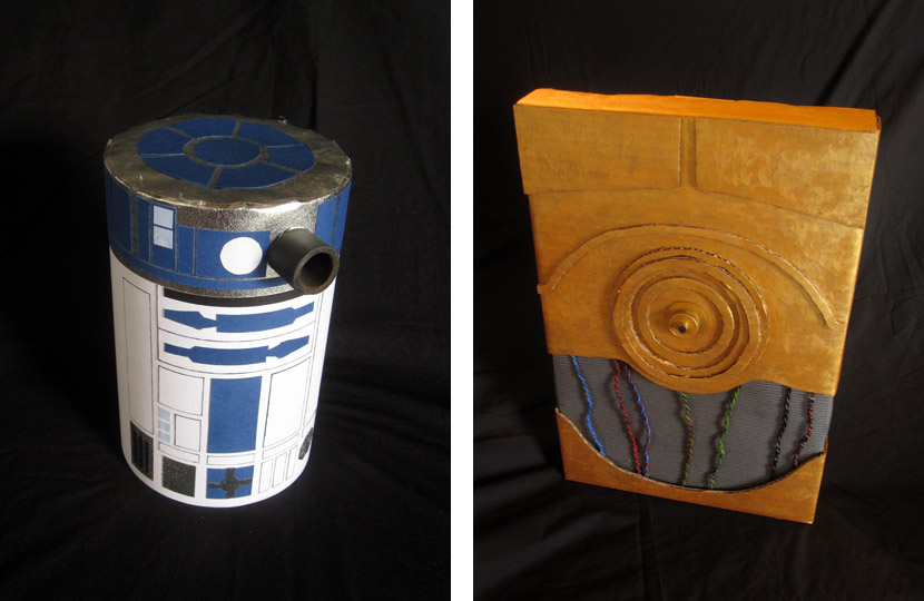 Christmas gifts wrapped like R2-D2 and C-3PO