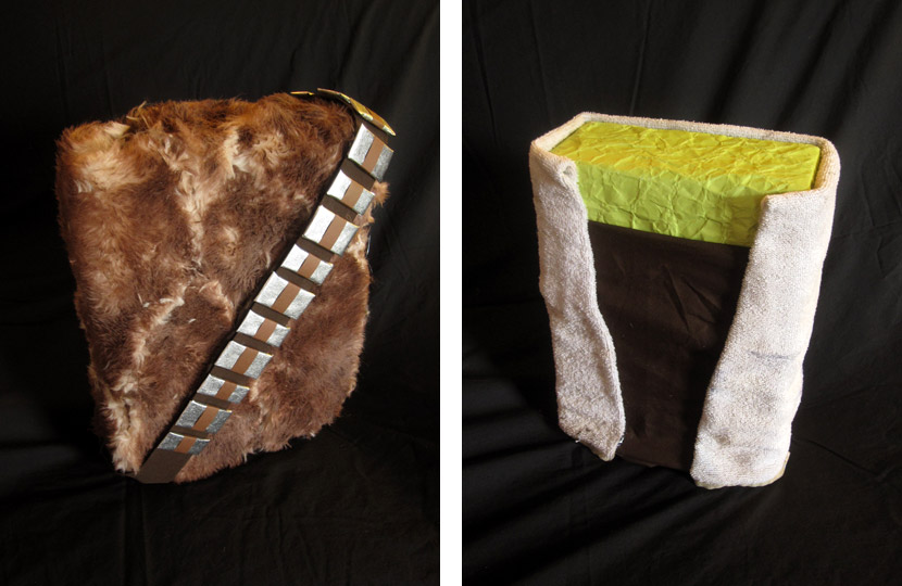 Christmas gifts wrapped like Chewbacca and Yoda