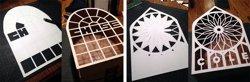Cutting the frame out of mat board