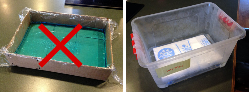 Use a plastic container, not a plastic-lined box